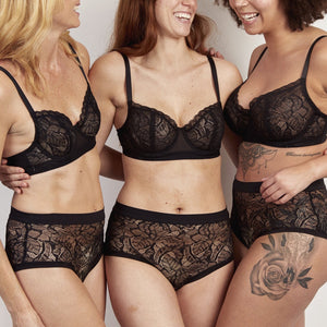 Lace high-waisted knicker sets by Phaein seen on three models