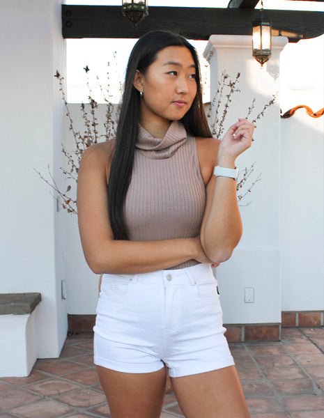 Ribbed Cowl Neck Bodysuit in Taupe