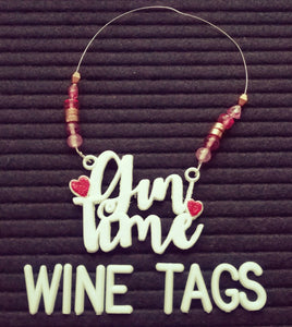 Gin Time Beaded Wine Tag in white