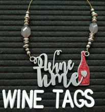 Load image into Gallery viewer, Wine Time Wine Tag in silver