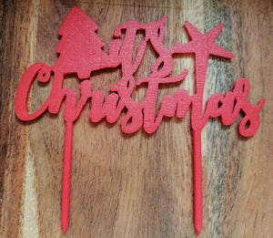 It's Christmas Cake Topper Red