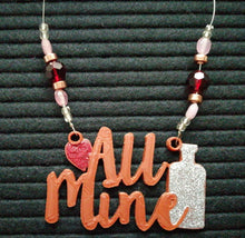 Load image into Gallery viewer, All Mine Beaded Wine Tag in bronze