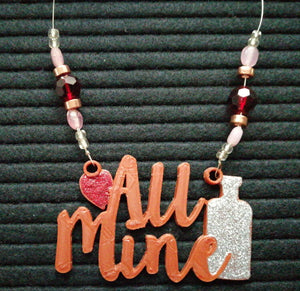 All Mine Beaded Wine Tag in bronze