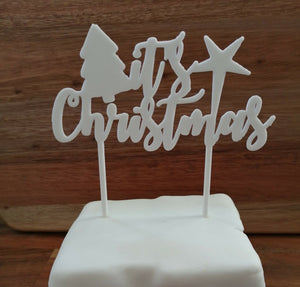 Its Christmas Cake Topper White