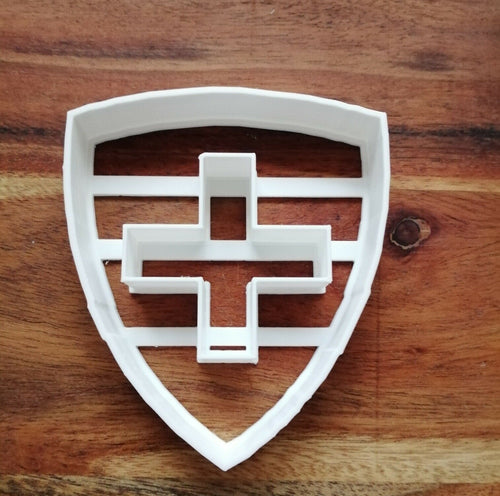 Shield with Cross cut out cookie cutter