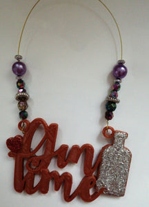 Gin Time Beaded Wine Tag