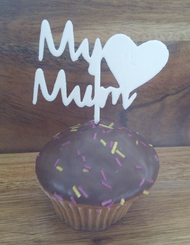 My Mum Cake Topper in white