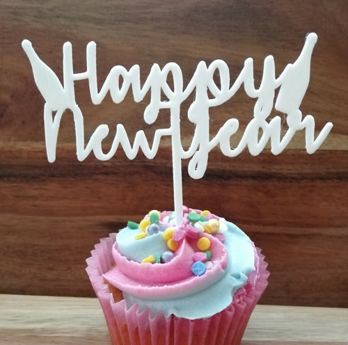 Happy New Year Cake Topper sml White