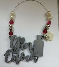 Load image into Gallery viewer, Gin O'clock Beaded Wine Tag in silver