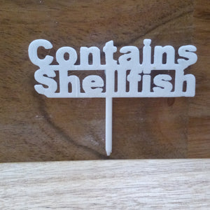 Contains Shellfish Table Sign Buffet Party Food Allergy Tableware Nuts Gluten