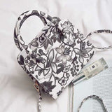 Women PU Leather Floral Casual Fashion Vintage Handbag Shoulder Bag Crossbody Bag