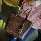 Women's Leather Tassels Handbag Shoulder Messenger Bag Ladies Satchel Tote Bags