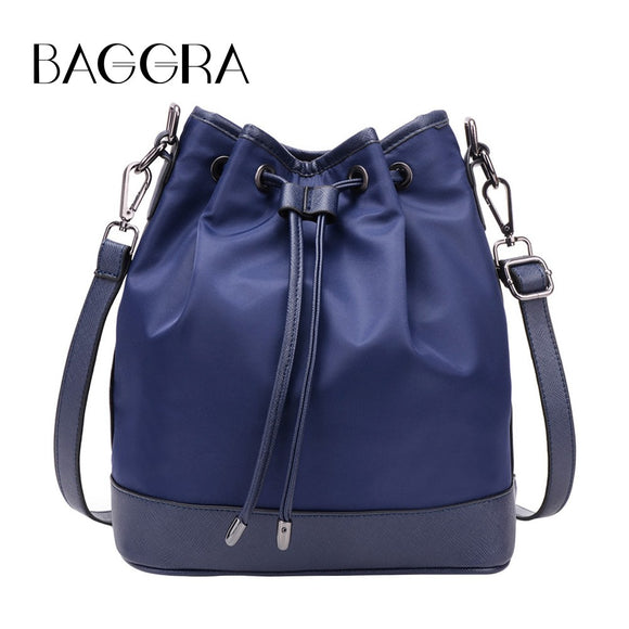 Fashion Women Nylon Shoulder Handbag Drawstring Grab Handle Messenger Crossbody Tote Blue/Purple/Black