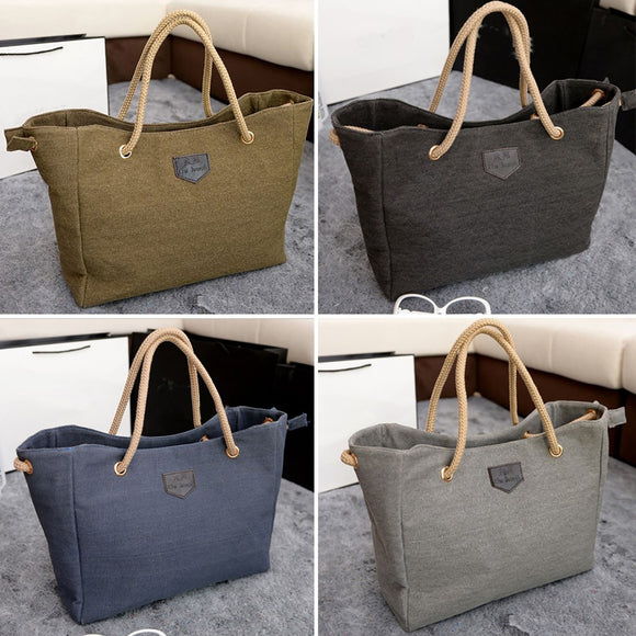 Women Canvas Big Bag Trend Simple Shopping Bag Shoulder Bag