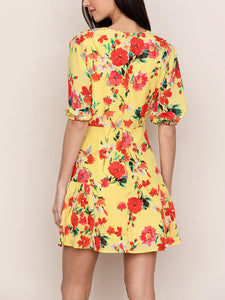 Short Sleeve Button Front Mini Dress