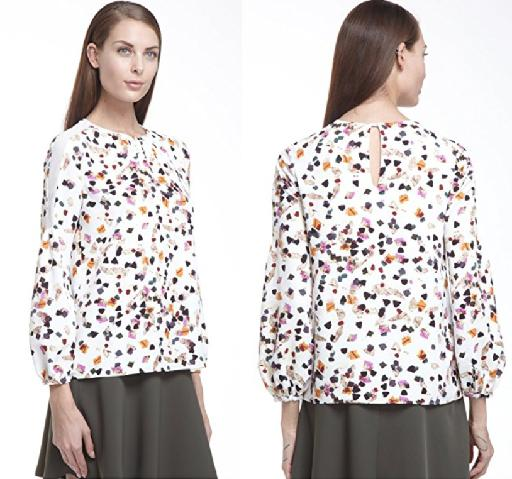 Patterned Blouse with Back Keyhole