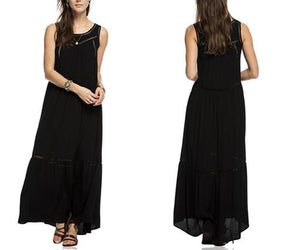 Sleeveless Mesh Detail Maxi Dress