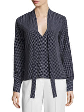 Load image into Gallery viewer, Tie Neck Reversible Polka Dot Blouse