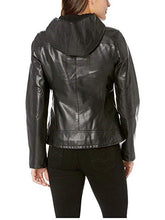 Load image into Gallery viewer, Hooded Faux-Leather Moto Jacket