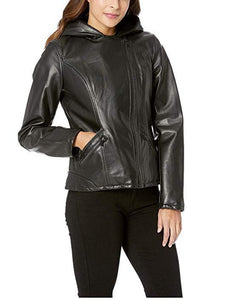 Hooded Faux-Leather Moto Jacket