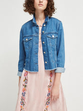 Load image into Gallery viewer, Raw-Hem Side-Lacing Denim Jacket