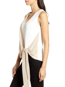 Sleeveless Drapped-Tie Top