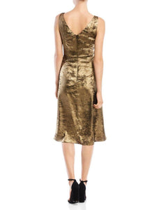 Metallic Sleeveless Pleated Inset Dress