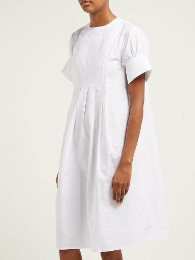 Pleated Pique Front Cotton Shirtdress