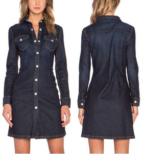 Long Sleeve Button-Up Denim Dress