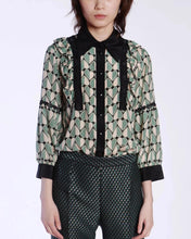 Load image into Gallery viewer, Hearts Crepe De Chine Silk Blouse