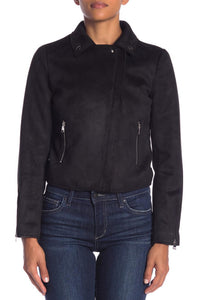 Faux Seude Asymmetrical Zipper Collar Jacket