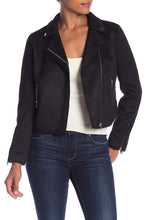 Load image into Gallery viewer, Faux Seude Asymmetrical Zipper Collar Jacket