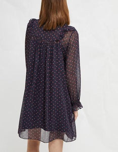 Long Sleeve Self-Tie Ruffled Smock Dress