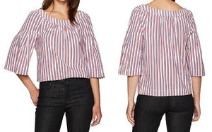 Striped Peasant Blouse w/ Bell Sleeves