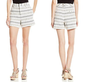 High-Rise Striped Tweed Shorts