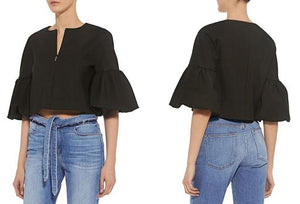 3/4 Balloon Sleeve Zip-Front Cropped Blouse