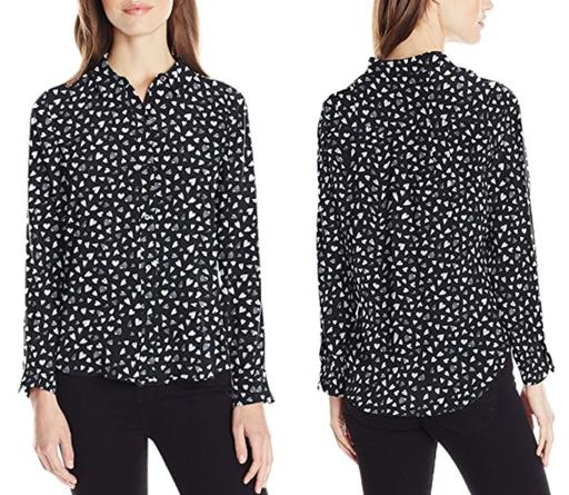 Long Sleeve Heart Print Button-Up