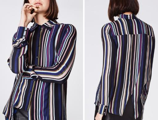 Long Sleeve Cut-Out Hem Striped Button-Up