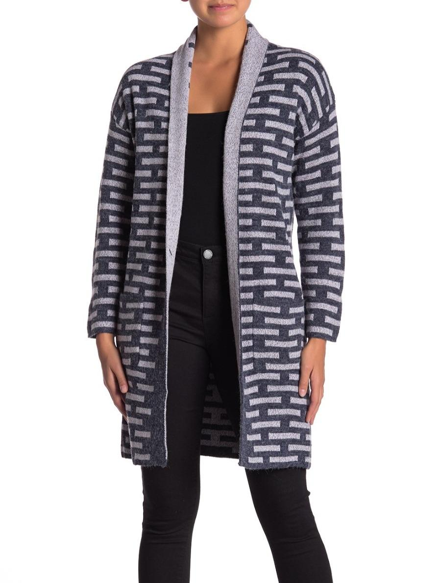 Long Sleeve Open Front Printed Cardigan