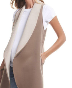 Maternity Open Vest With Contrast Shawl Collar