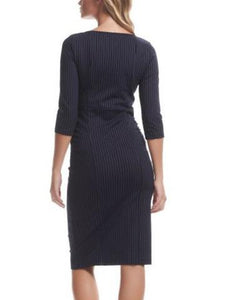 Maternity Pinstripe 3/4 Sleeve Seamed Dress