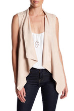 Load image into Gallery viewer, Sleeveless Faux-Suede Draped Lapel Vest