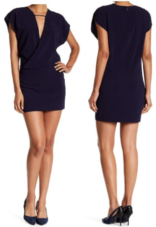 V-Neck Short Sleeve Faux Wrap Sheath Dress