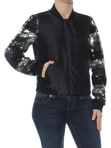 Striped Sequin Satin Bomber Jacket