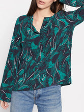 Load image into Gallery viewer, Long Sleeve Leaf Print Silk Blouse