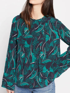 Long Sleeve Leaf Print Silk Blouse