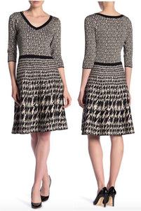 3/4 Sleeve Houndstooth Print Sweaterdress