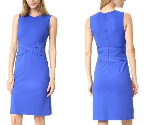 Sleeveless Crew Neck Stitch-Detail Sheath Dress