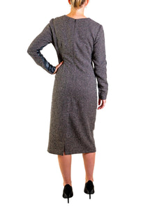 Long Sleeve Faux Leather & Tweed Dress