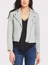 Load image into Gallery viewer, Long Sleeve Textured Knit Moto Jacket